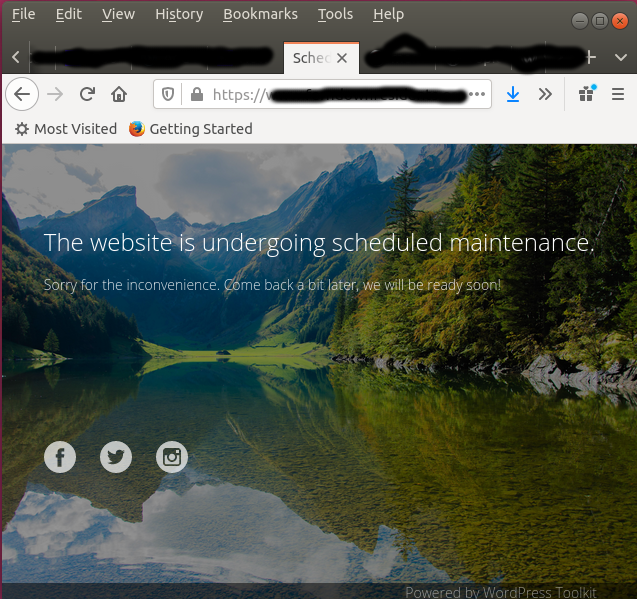 Wordpress maintenance mode looks like this