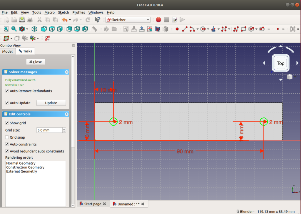 sketcher constrained holes ready for our 3D object