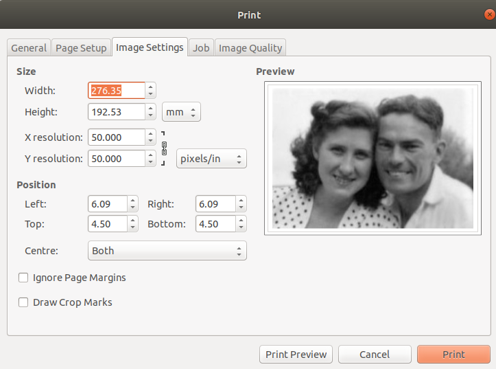 Gimp print image settings