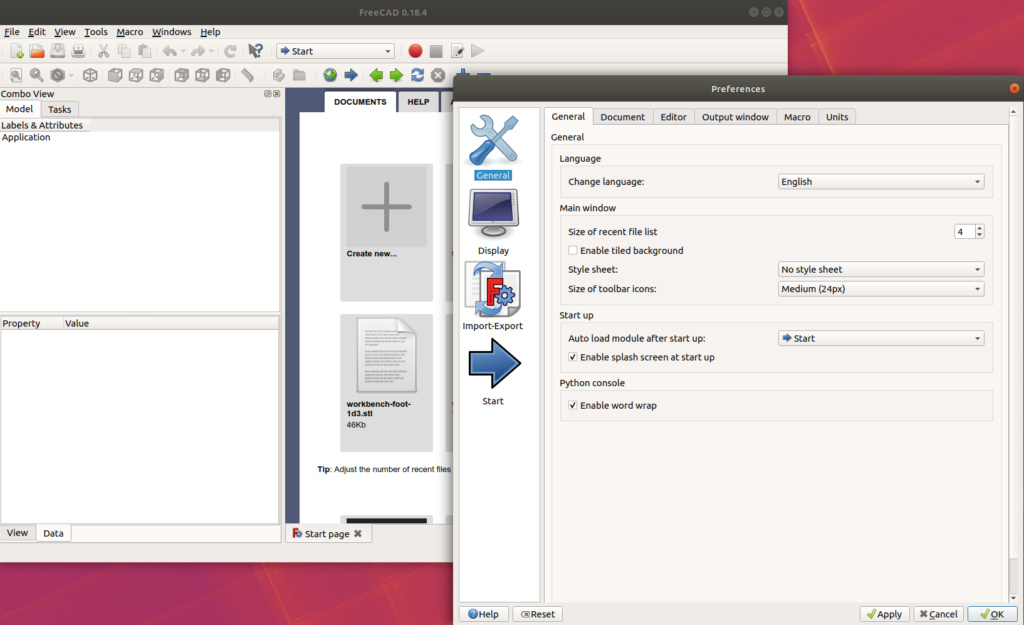 Freecad Initial preferences no font setup available