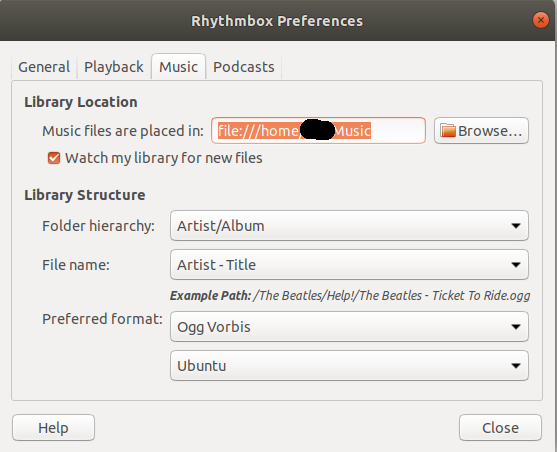 If Rhythmbox is missing new music files first uncheck the this check box