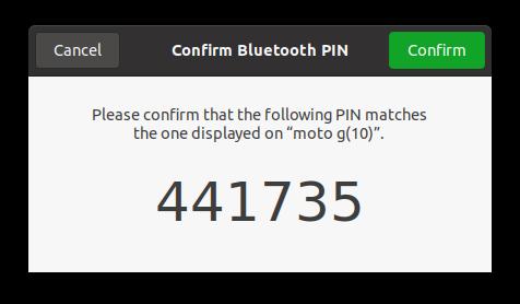 Ubuntu Settings Blutooth Code match