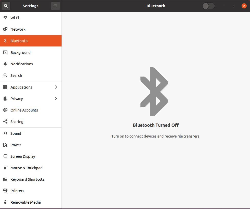 Ubuntu Settings Bluetooth Turned Off
