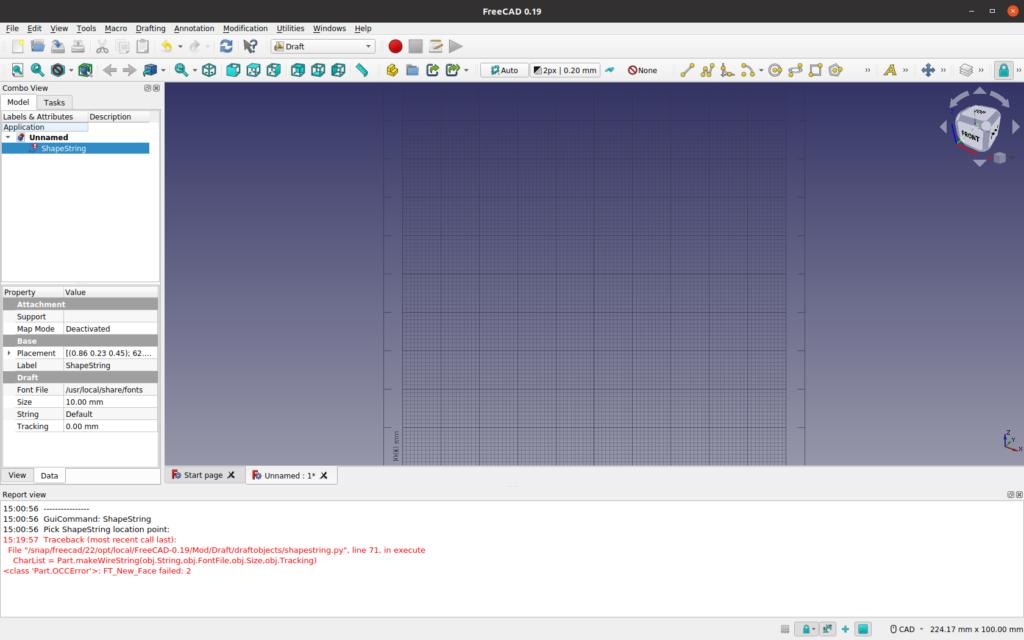 Screen capture of FreeCAD ShapeScreen font problem setting error